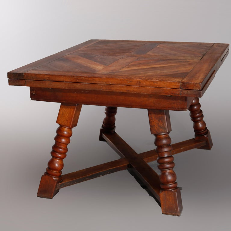 Large Continental Parquetry Inlaid Walnut Draw-Top Dining Table, circa 1900 In Good Condition For Sale In Big Flats, NY