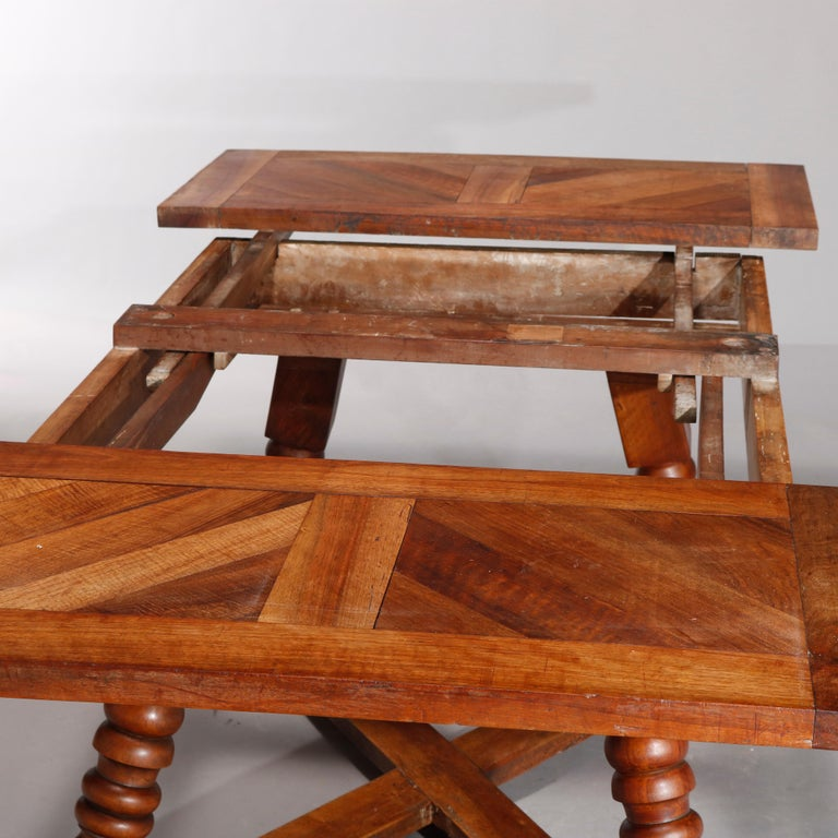 20th Century Large Continental Parquetry Inlaid Walnut Draw-Top Dining Table, circa 1900 For Sale