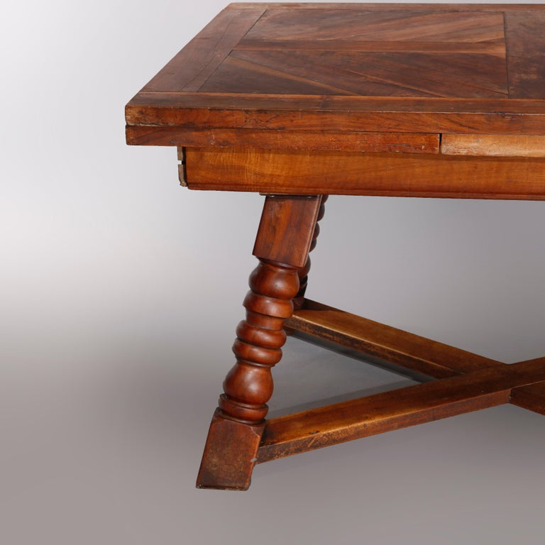 Large Continental Parquetry Inlaid Walnut Draw-Top Dining Table, circa 1900 For Sale 1
