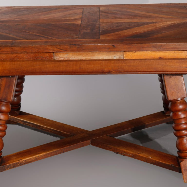 Large Continental Parquetry Inlaid Walnut Draw-Top Dining Table, circa 1900 For Sale 2