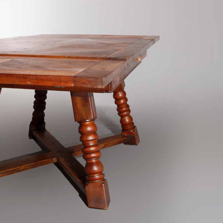 Large Continental Parquetry Inlaid Walnut Draw-Top Dining Table, circa 1900 For Sale 3