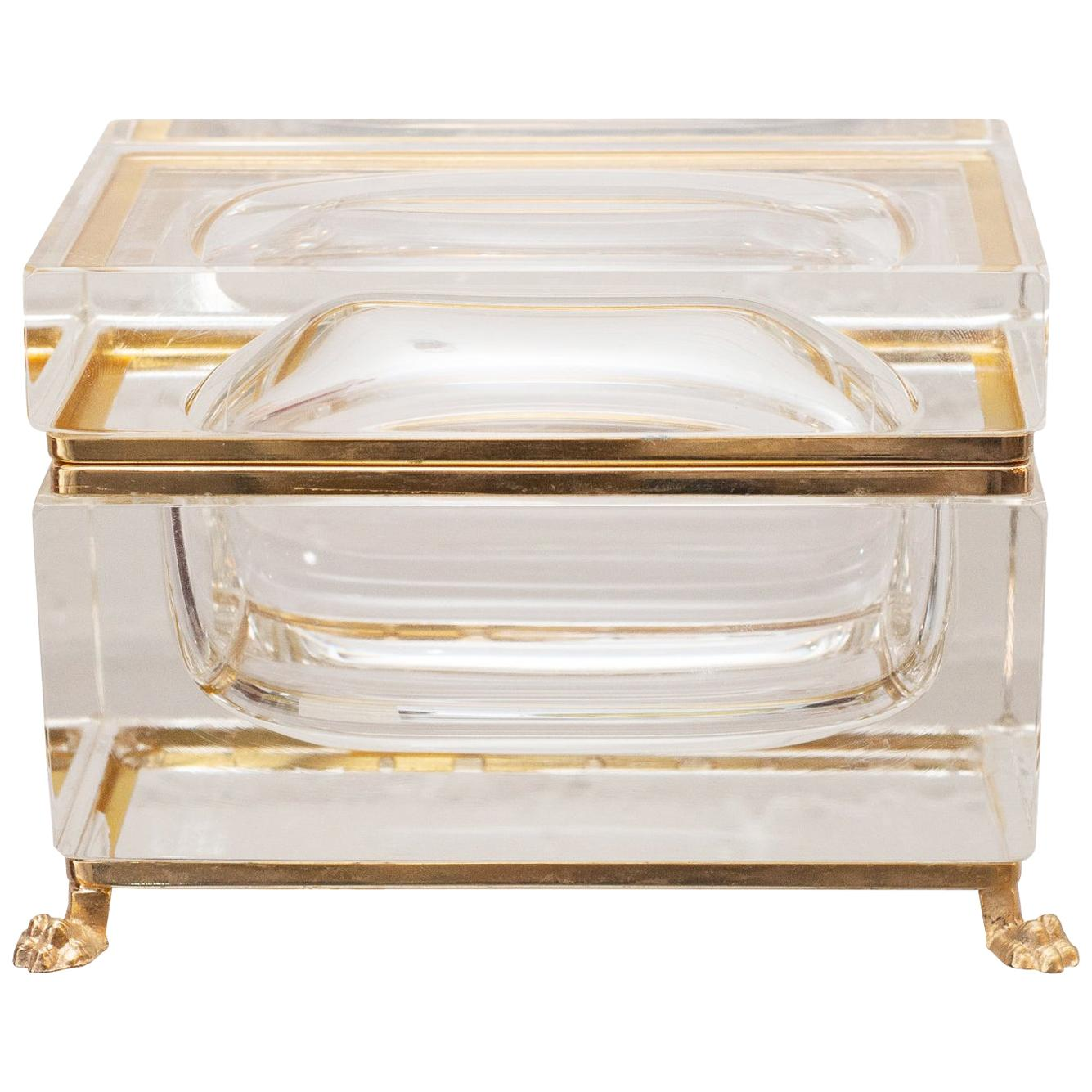 Antique Large Crystal Box or Casket with Bronze Mount