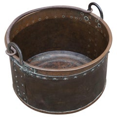 Antique, Large & Decorative Hand Hammered Copper and Forged Iron Firewood Bucket