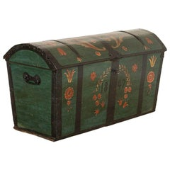 Antique Large Domed Top Green Painted Swedish Trunk, Dated 1847