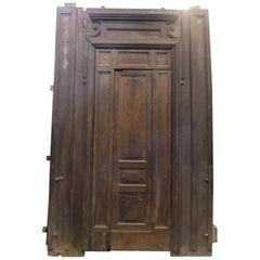 Antique Large Door in Brown Walnut Wood, Small Internal Door, 1800, Italy