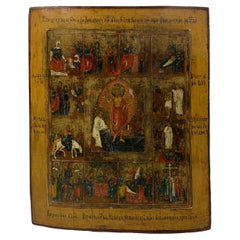 Antique Large Early 19th Century Russian Icon, Resurrection and Great Feast Days