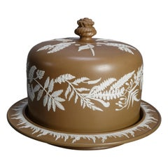 Antique Large English Brown Jasperware Fern Decorated Cheese Dome and Plate