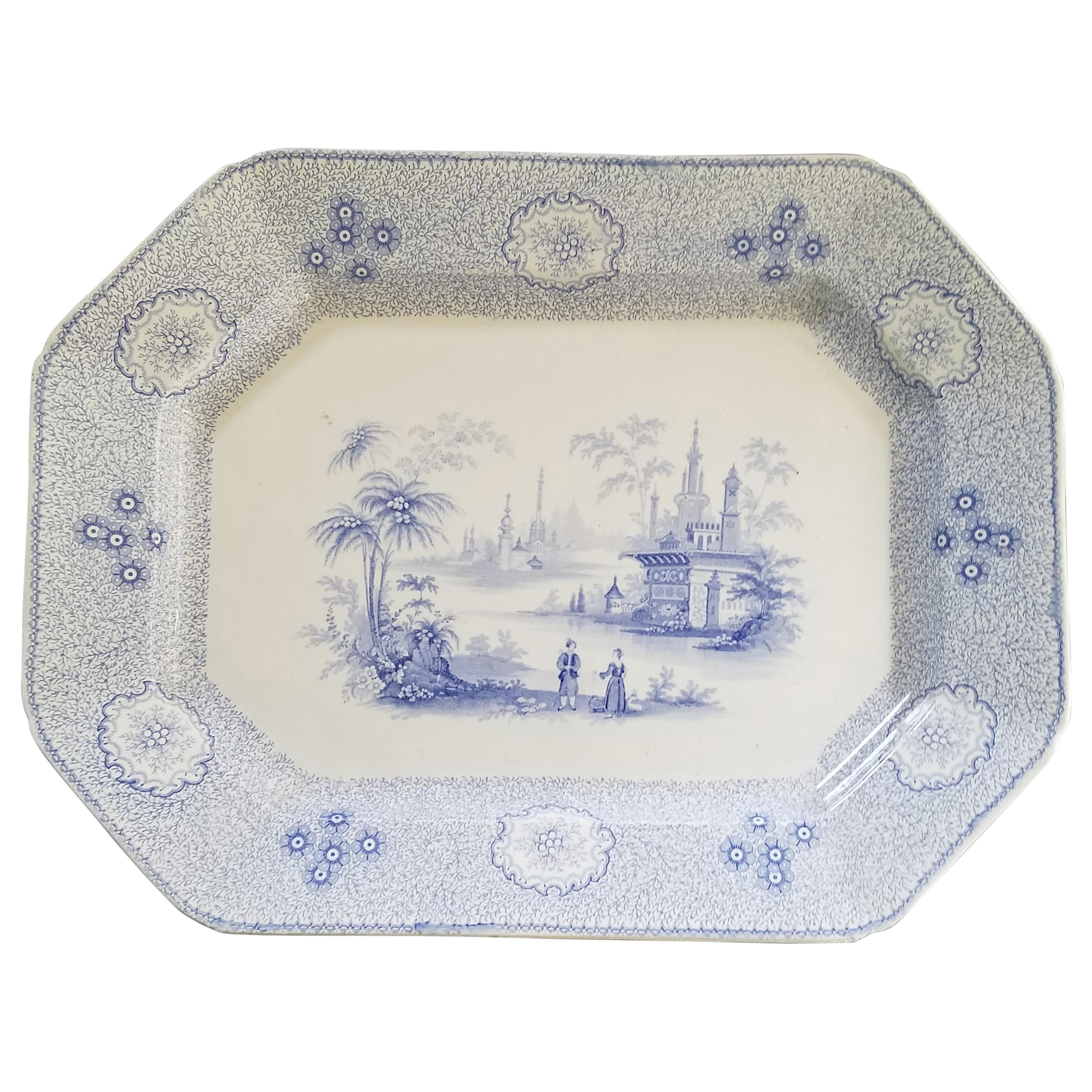 Antique Large English Staffordshire Blue and White Platter, 19th Century