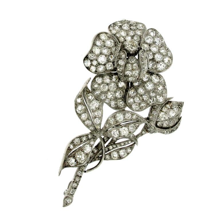 Antique Large Flower 20 carat Diamond Gold Brooch/Pendant