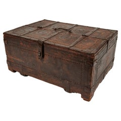 Antique Large Footed Wood Keepsake Box