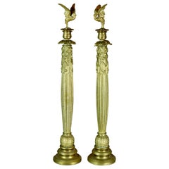 Antique & Large French 3rd Empire Bronze Figural Candlesticks with Birds, c1870