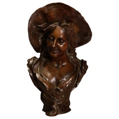 Antique Large French Art Nouveau Sculpture of a Woman in Hat, Signed, Circa 1890