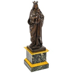 Antique Large French Bronze of Sainte Maria by De Beaumont, 19th Century