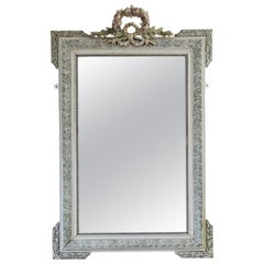 Antique Large French Decorated Overmantle Wall Mirror, 19th Century