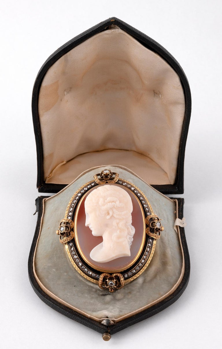 Napoleon III Antique Large French Diamond and Agate Signed Cameo Brooch, Circa 1870 For Sale