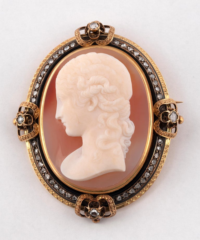 Old European Cut Antique Large French Diamond and Agate Signed Cameo Brooch, Circa 1870 For Sale