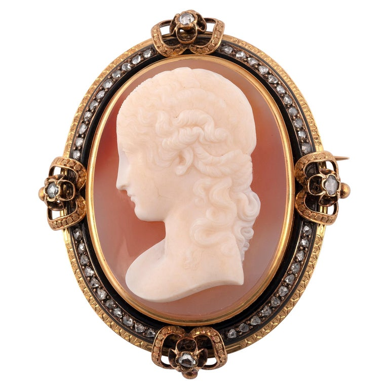 Antique Large French Diamond and Agate Signed Cameo Brooch, Circa 1870 For Sale