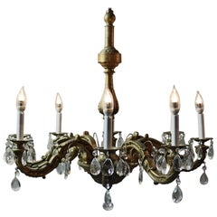 Antique Large French Empire Eight Arm Bronze and Crystal Chandelier, circa 1930