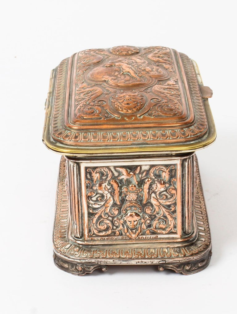 Late 19th Century Antique Large French Gilt and Copper Casket 19th Century For Sale