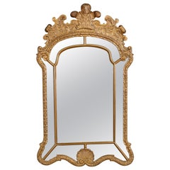 Antique Large French Louis XV Palmette Parclose Giltwood Wall Mirror, C 1910