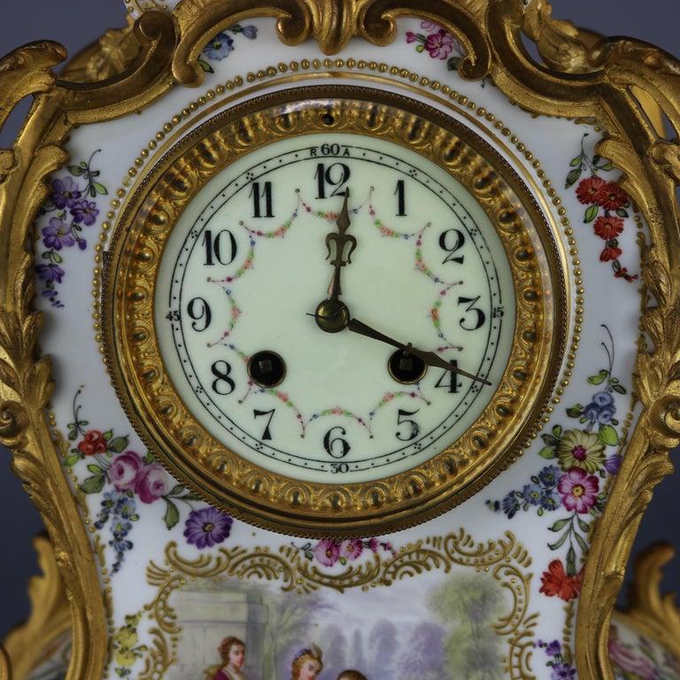 Antique Large French Louis XIV Porcelain & Dore Bronze Clock, circa 1890 For Sale 3