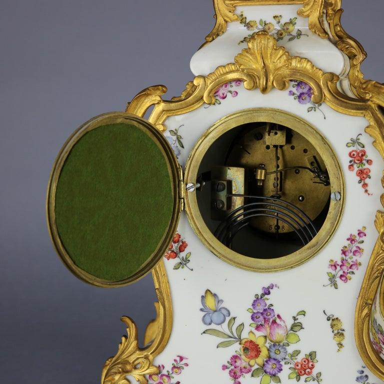 Antique Large French Louis XIV Porcelain & Dore Bronze Clock, circa 1890 For Sale 4