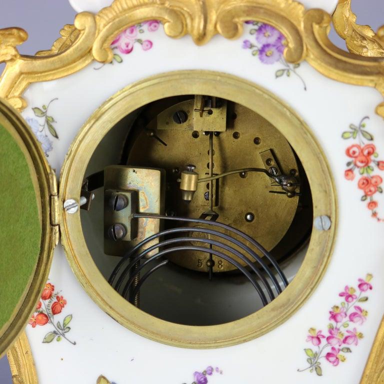 Antique Large French Louis XIV Porcelain & Dore Bronze Clock, circa 1890 For Sale 6
