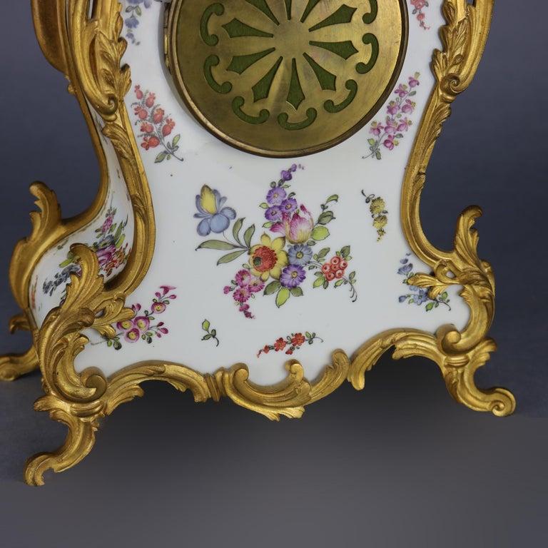 Antique Large French Louis XIV Porcelain & Dore Bronze Clock, circa 1890 For Sale 8