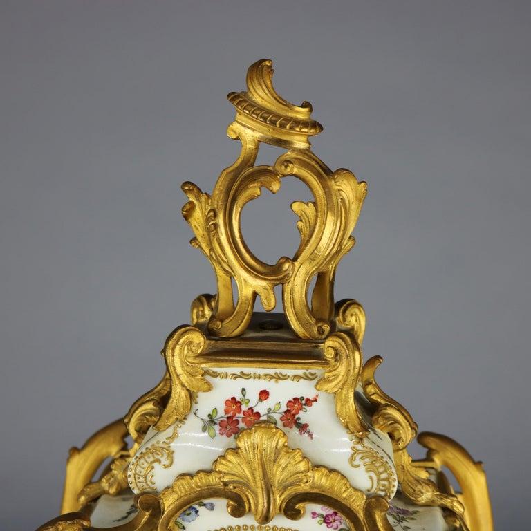 Louis XVI Antique Large French Louis XIV Porcelain & Dore Bronze Clock, circa 1890 For Sale