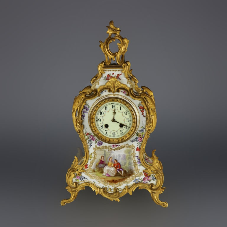 Antique Large French Louis XIV Porcelain & Dore Bronze Clock, circa 1890 In Good Condition For Sale In Big Flats, NY
