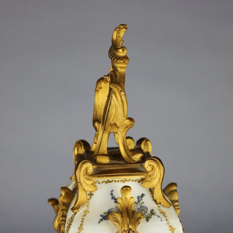19th Century Antique Large French Louis XIV Porcelain & Dore Bronze Clock, circa 1890 For Sale