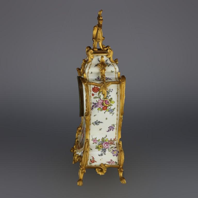 Glass Antique Large French Louis XIV Porcelain & Dore Bronze Clock, circa 1890 For Sale
