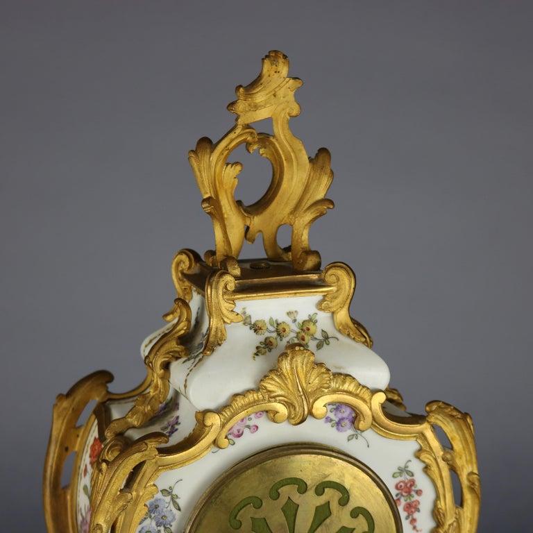 Antique Large French Louis XIV Porcelain & Dore Bronze Clock, circa 1890 For Sale 1