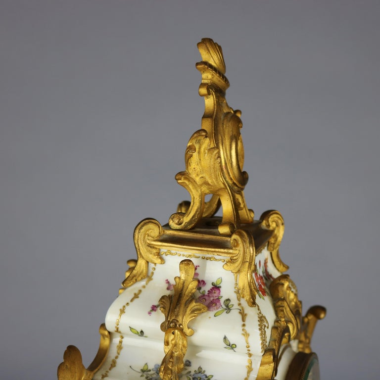 Antique Large French Louis XIV Porcelain & Dore Bronze Clock, circa 1890 For Sale 2