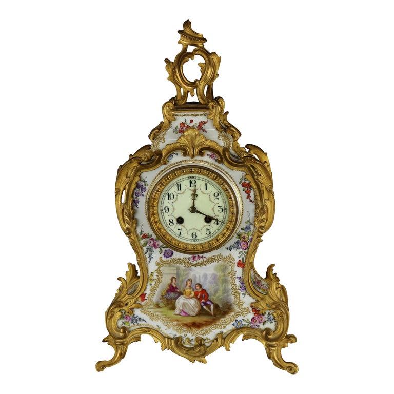 Antique Large French Louis XIV Porcelain & Dore Bronze Clock, circa 1890 For Sale