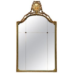 Antique Large French Style Adams Decorated & Giltwood Wall Mirror, Circa 1920