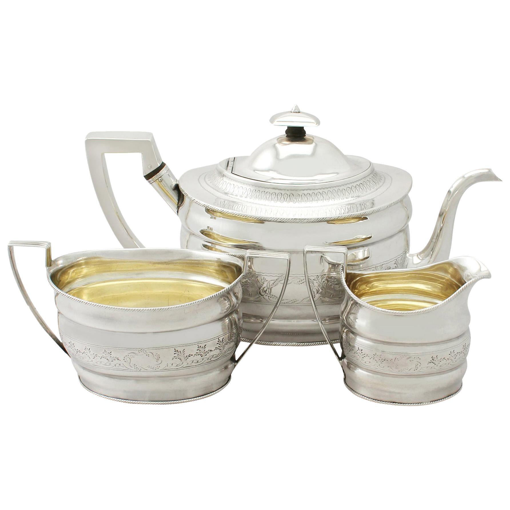 Antique Large Georgian English Sterling Silver Three-Piece Tea Service