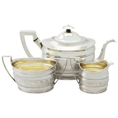 Antique Large Georgian English Sterling Silver Three-Piece Tea Service