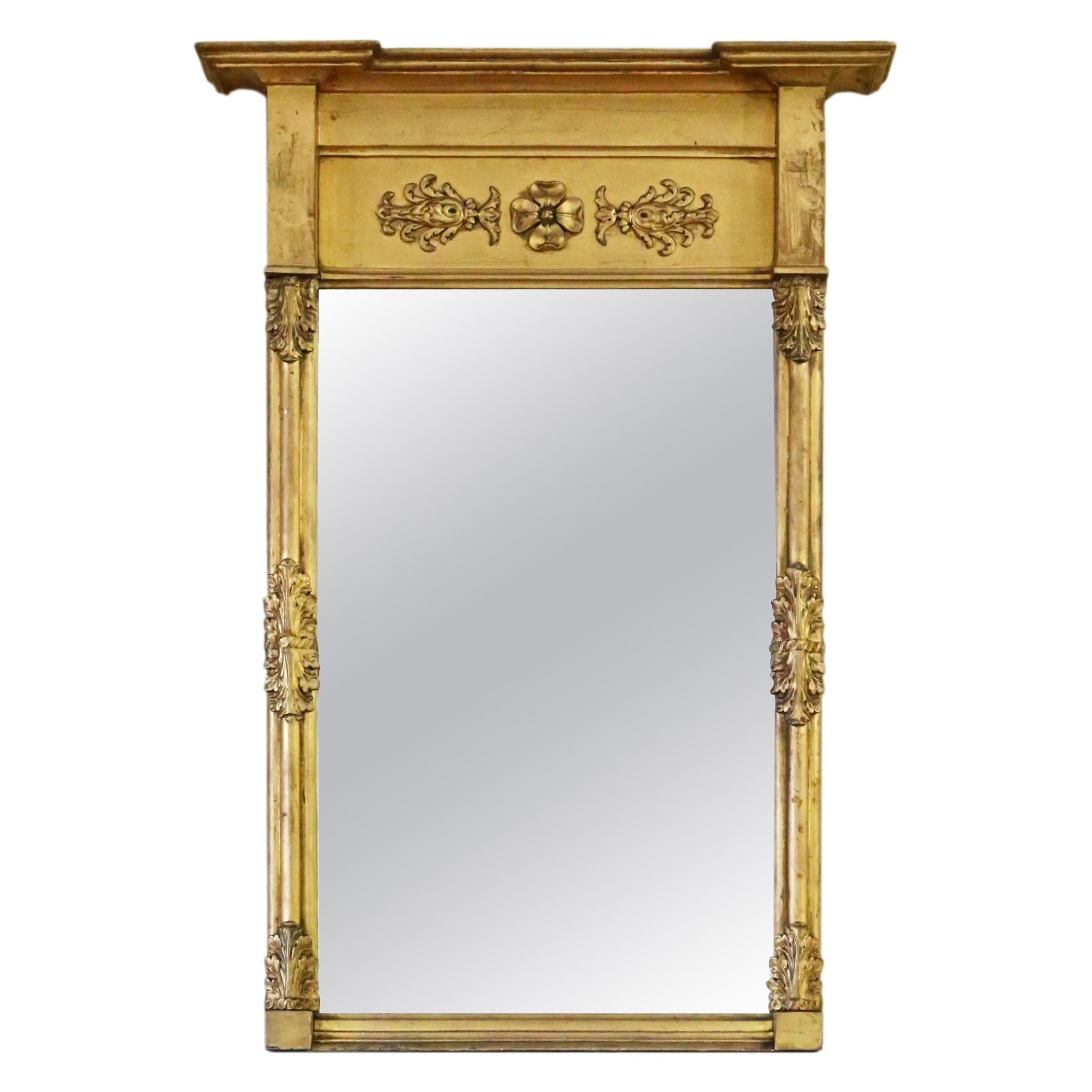 Antique Large Gilt 19th Century Pier Wall Mirror