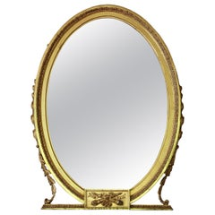 Antique Large Gilt Oval Overmantle or Wall Mirror, circa 1900