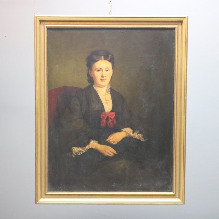 Large and Giltwood Framed Oil on Canvas Portrait of French Woman by Giradot 1872 In Good Condition In Big Flats, NY