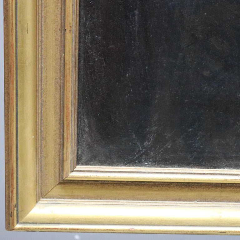 Large and Giltwood Framed Oil on Canvas Portrait of French Woman by Giradot 1872 1