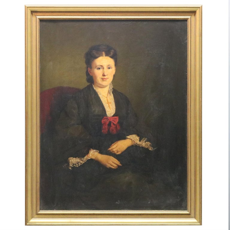 Large and Giltwood Framed Oil on Canvas Portrait of French Woman by Giradot 1872