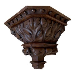 Impressive Size and Deeply Carved Gothic Revival Church Wall Bracket.