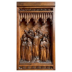Antique Large Hand Carved Oak Gothic Art Panel, Depicting Christ and 12 Apostles