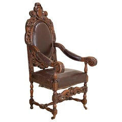 Antique Large Heavily Carved Armchair on Castors