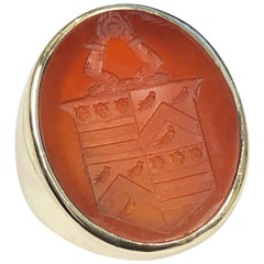 Antique Large Impressive Yellow Gold and Carved Carnelian Intaglio Signet Ring