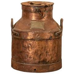 Antique Large Industrial Era Lidded Copper Jug