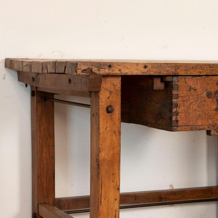 Antique Large Industrial Work Table Butchers Table with ...
