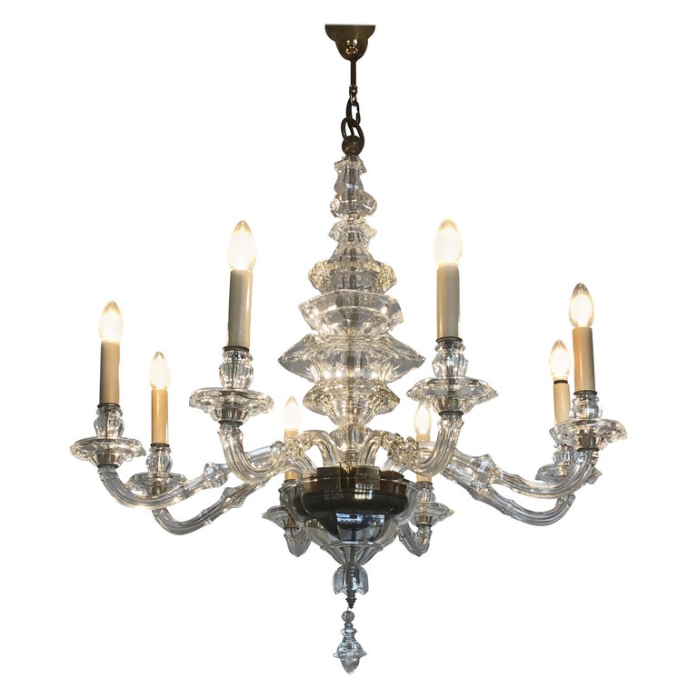 Antique Large Italian Glass Chandelier, 19th Century, circa 1870 For Sale